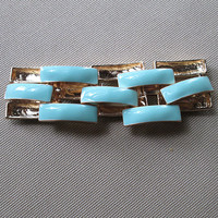 Bridesmaid jewelry, bridal jewelry wedding jewelry Chunky Link Enamel square Bracelet Arm Candy - Mint