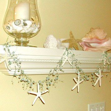 Starfish Garland Beach Decor Aqua with by SeashellCollection