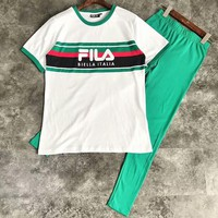 FILA 2018 men and women round neck casual striped couple models short-sleeved trousers two-piece F-CY-MN Green