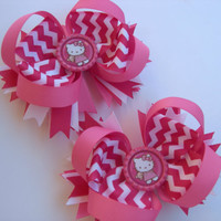 Hot Pink Chevron Hello Kitty Boutique Pig Tail Bows