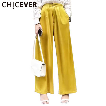 CHICEVER 2017 Spring Women Velvet High Waisted Long Wide Leg Pants Female Casual Trousers Beautiful Loose Clothes Korean Fashion