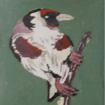 Goldfinch   Aceo Original Acrylic Painting Birds  Art painting  children gift  Art aceo size 6.40 / 8.96 cm / .2.5 x 3.5 Inch