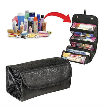 2015 NEW arrival cosmetic bag fashion women makeup bag hanging toiletries travel kit jewelry organizer