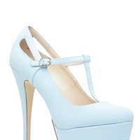 Light Blue Faux Leather T Strap Mary Jane Platform Heels