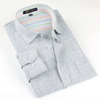 Brand high quality Linen Men's Shirts Long Sleeve