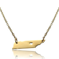 USA Tennessee Map Pendant Alloy Necklace