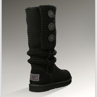 """UGG"" Women Fashion Weave Wool Snow Boots Black"