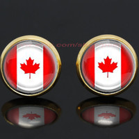 Canadian flag gold plated stud post earrings,girlfriend gift Bridesmaid Gift