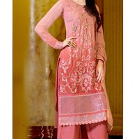 Stunning Pink Color Embroidered Palazzo Suit