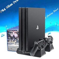 DOBE PS4/PS4 Slim/PS4 Pro Vertical Cooling Stand, PS4 Controller Charger with 12 Gaming Disks Storage for Playstation 4 PS4