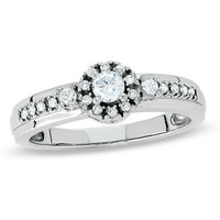 White Sapphire Promise Ring in Sterling Silver with Diamond Accents - View All Rings - Zales