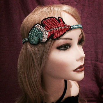 1920's style flapper headband native american feather beaded pocahontas headpiece head piece band 20's 1920s adjustable red green white boho