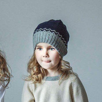 c35ece5ec2a Nordic hat   gray   navy hat   baby children   6-12  12