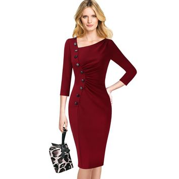 Asymmetric Neck Vintage Pinup Retro Ruched Pleated Button Slim Party Wiggle Sheath Midi Dress