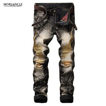 MORUANCLE Men's Ripped Jeans Pants Wings Embroidery Fashion Vintage Distressed Denim Trousers Hole Jogger Jeans Plus Size 29-42