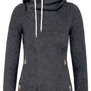 Hooded Skew Zippered Long Sleeve Hoodie