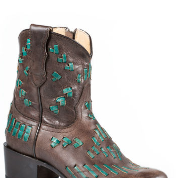Stetson Ladies Fashion Round Toe Boots Brown Vamp With Turquoise Lace Sitich Snip Toe Toe