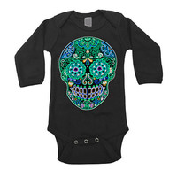 Long Sleeve Black Bodysuit Sugar Skull Baby Clothes 0 3 6 12 18 month Tattoo Rockabilly baby. Children Fall Trendy shirt Turquoise 1T