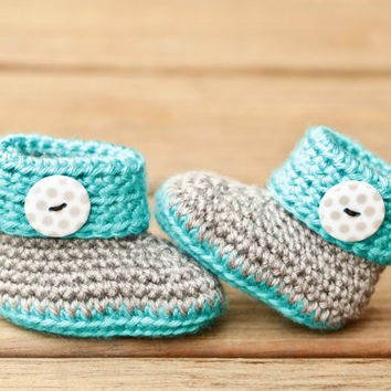 Crochet Baby Booties - Blue and Gray Baby Shoes - Polka Dot Baby Booties Baby Boots Crib Shoes