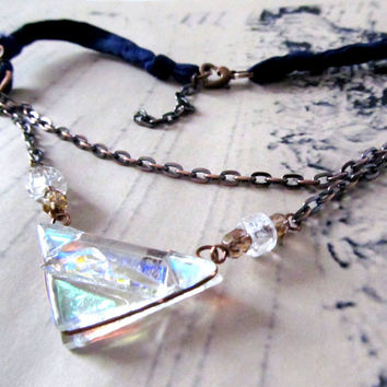 Sari Silk Ribbon Iridescent Dichroic Fused Glass Triangle Pendant Necklace - Boho Upcycled Fused Glass Jewelry, Made in US Eco Friendly