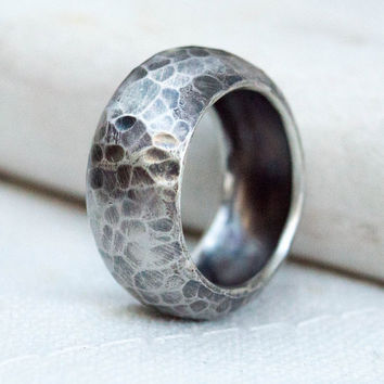 Sterling silver ring, Chevalier ring, Small finger ring, knuckle ring, Thumb rings for women,Curved ring, Statement ring, Rustic silver ring