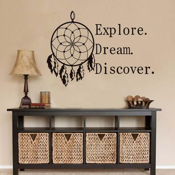 Explore Dream Discover Motivation Quotes Wall Stickers PVC Waterproof Wallpaper Home Decor Living Room Dreamcatcher Wall Decals