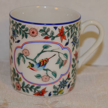 Neiman Marcus Demitasse Cup Vintage Japanese Coffee Tea Cup Cherry Blossom Songbird Oriental Asian Motif Small Cup Teacup Afternoon Tea