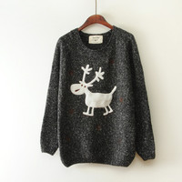 Black Snow Elk Loose Pullover Sweater
