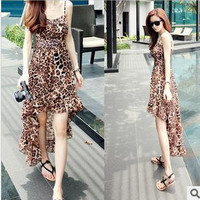 Sexy Womens Spring and Summer Leopard Grain Dress Spaghetti Strap Dress And Sleeveless Chiffon Dress