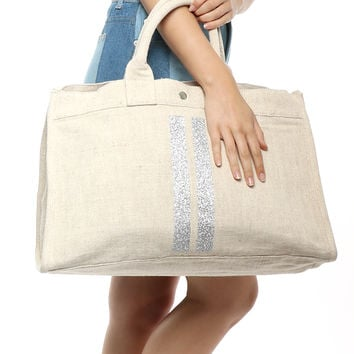 Quilted Koala East West Bag - Silver Stripe