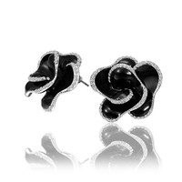 18K White Gold Plated Crystal Accent Black Enamel 3D Rose Flower Stud Earrings
