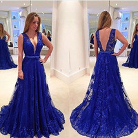 Double V-Neck Prom Dress,Blue Prom Dresses,Long Evening Dresses