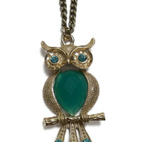 Owl Necklace Pendant Rhinestone Gemstone, Gift, Green Gold Jewelry Chain, hipster style, boho fashion,Teal - Charity