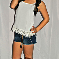 SHE'S GONE COUNTRY NAVY LACE TOP
