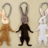 Bunny Rabbit Christmas Ornaments - Spring Easter Bunny Decorations