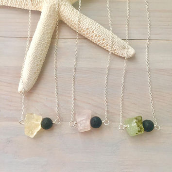 Raw Stone Necklace - Lava Stone Necklace - Rose Quartz Necklace - Oil Diffuser - Citrine Necklace - Prehnite Jewelry - Lava Bead Necklace