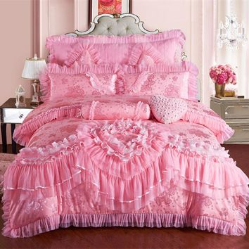 Cool Pink Lace Princess Wedding Luxury Bedding Set King Queen Size Silk Cotton Stain Bed set  Duvet Cover Bedspread PillowcaseAT_93_12