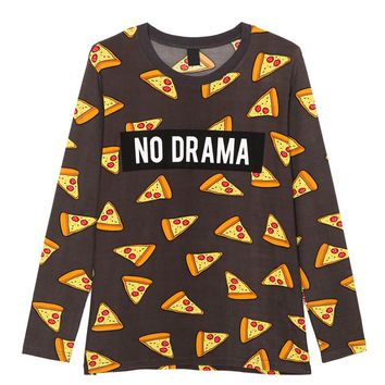 Women cute pizza letters print t shirt cake NO DRAMA long sleeve tees fashion streetwear shirts casual loose cozy tops