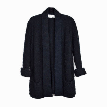 Vintage 90s Black Boucle Duster Cardigan / Open Front Sweater with Pockets - women's small