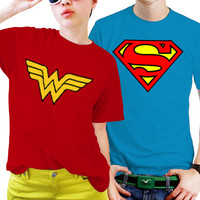 Superman And Wonderwoman Couples Matching Shirts, Couples T Shirts, Funny Couple Shirts