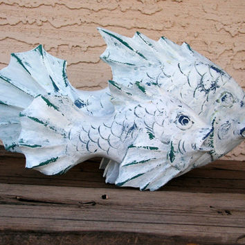 Fish Folk Art Wood Carving Hand Carved Wooden Fish Statue Sculpture Shabby Chic Beach Home Decor Decoy