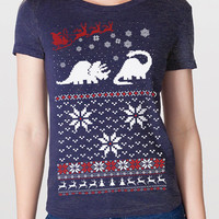 Ugly Christmas Sweater t shirt -- Women's Santa Dinosaur -- S M L XL