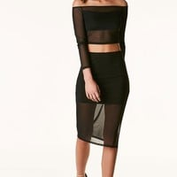 Slit It Mesh Midi Skirt