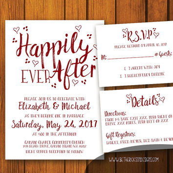 Happily Ever After Wedding Invitation / Fairytale Wedding Invitation / Simple Wedding Invitation / Wedding / Fairytale / Invitation Set