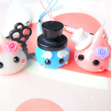 Gentleman Hoppe Chan Top Hat Charm, Tamagotchi Charm, Kawaii Phone Charm, Cute Dust Plug, Nintendo 3DS, PS Vita, Blue Squishy Charm,