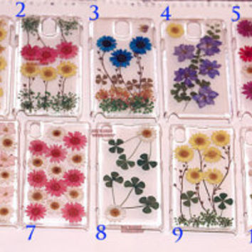 Real Pressed FLower Case cover Samsung Note 3 Case mini Galaxy s4 s3 case Sony Xperia Z case z1 LG G2 case, HTC One case Lg Android Nexus 4