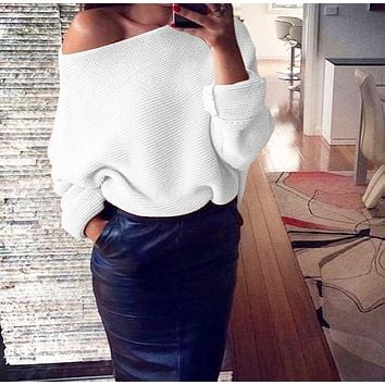 Winter  Women's Fashion Sexy Off-Shoulder Solid Color Long Sleeve Sweater 3#