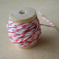 One (1) Spool of Twine - Red and White Twine - 10 Yards - Peppermint Twine