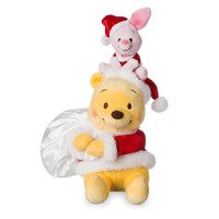 "Licensed cool Pooh Piglet Santa Hat Holiday Christmas 12 1/2"" Seated Plush Set Disney Store"