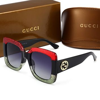 GUCCI  Unique cute cool sunglasses L-HWYMSH-YJ Red&Green